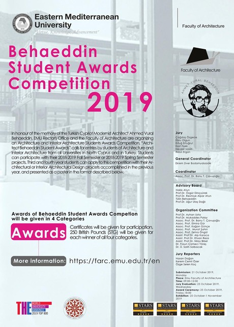 Architecture Faculty Ahmet Vural Behaeddin Student Awards Competition