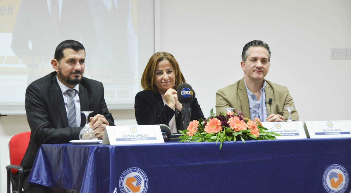 NTV Sports Director Nebil Evren and BRTK Football Program Producer and Presenter Osman Dinler Gave a Conference in EMU